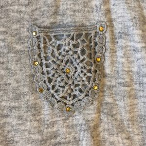 miracle Tops - Grey Tunic Top with Lace